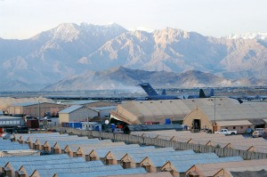 A view of Bagram Airfield, Afghanistan from the Air Traffic Control Tower's catwalk after a recent rainstorm. (photo by Staff Sgt. Craig Seals)