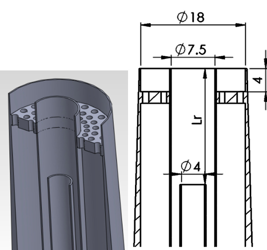 Isometric solid model of the piloted burner (left) and cutaway schematic (right) with dimensions in millimeters.