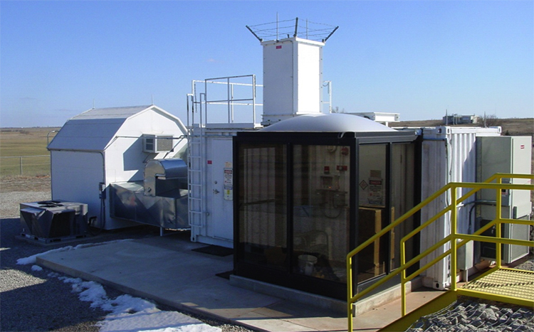 The upgraded Raman lidar system at the Southern Great Plains ARM site in Oklahoma. Operational since 1995, this fully autonomous system is nearly identical to the systems deployed at the Darwin, Australia, ARM site in December 2010 and at the Oliktok Point, Alaska, ARM site in September 2014.