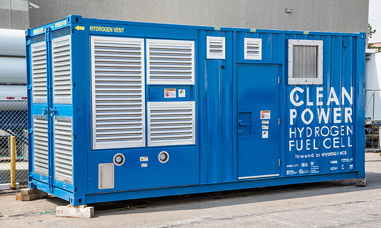 Containerized hydrogen fuel cell generator prototype for the Maritime Fuel Cell Project designed and built by Hydrogenics.