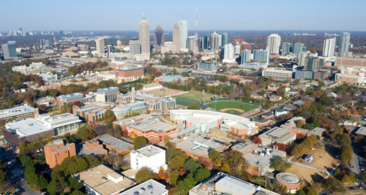 An aerial view of the Georgia Tech campus in midtown Atlanta.