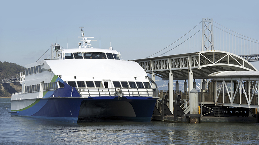 A high-speed passenger ferry of the type envisioned to be powered by hydrogen in the SF-BREEZE project.