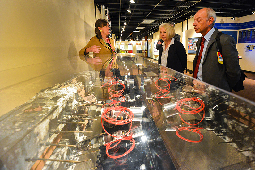 Susan Pickering, (left) Director of Sandia's Nuclear Energy & Fuel Cycle Programs, discusses Sandia's work in nuclear safety with Anne Harrington of the NNSA and Denis Flory of the IAEA during a tour of Sandia's facilities. (Photo by Randy Montoya)