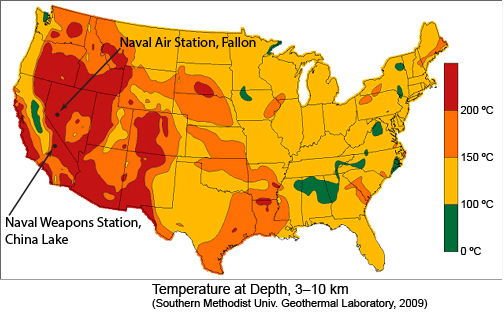 The approximate locations of Sandia's recently funded geothermal research sites superimposed on a DOE Geothermal Technologies Office map of the geothermal energy resource/potential for the continental US. These two sites were proposed because, in addition to being federal land, the requisite temperatures are met near the minimum required depth (i.e., less money spent drilling and more performing the research).