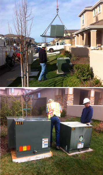A residential distributed energy-storage unit being installed (top) and inspected (bottom).