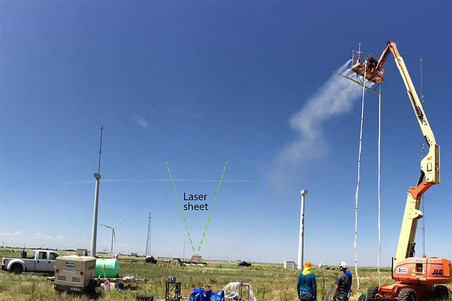 A view upwind of SWIS' aerosol-generating system.