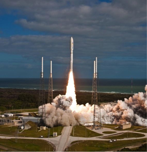 With NASA's Mars Science Laboratory spacecraft sealed inside its payload fairing, the United Launch Alliance Atlas V rocket rises from Cape Canaveral.