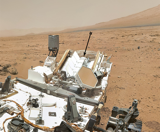 Curiosity's multi-mission radioisotope thermoelectric generator on Mars.
