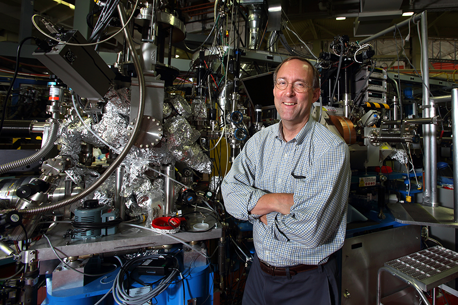 Sandia chemist Mark Allendorf, shown here at Berkeley Lab's Advanced Light Source facility, is leading the Hydrogen Materials Advanced Research Consortium (HyMARC) to advance solid-state materials for onboard hydrogen storage. (Photo by Dino Vournas)