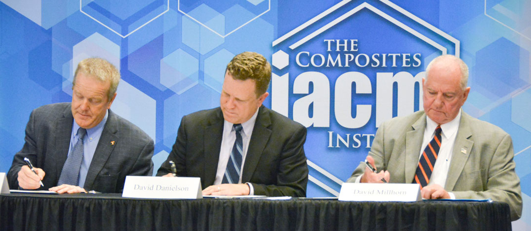 The IACMI signing ceremony at the Knoxville Convention Center. (Left to right: Craig Blue, IACMI CEO; David Danielson, DOE-EERE; and David Millhorn, Univ. of Tennessee).
