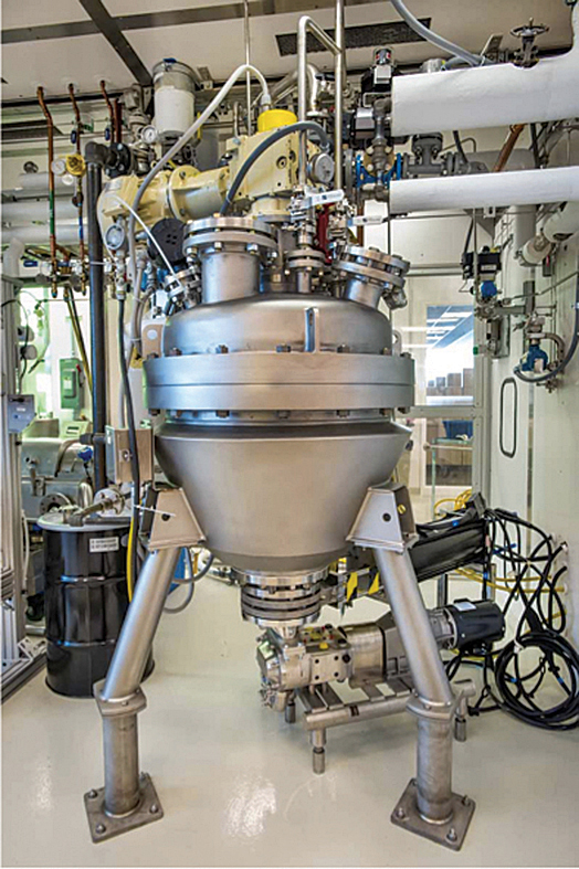 JBEI has scaled up biomass pretreatment technologies that use ionic liquids from the bench scale to the 100 L scale using a reactor located at the Advanced Biofuels Process Demonstration Unit (ABPDU).