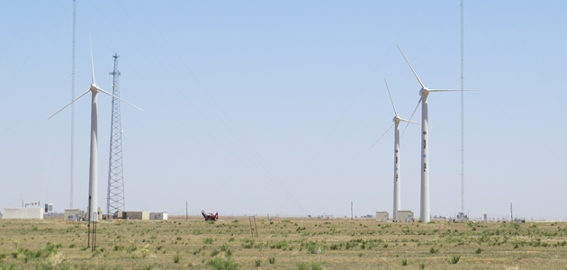 The SWiFT facility comprises three heavily instrumented and modified variable-speed, variable-pitch Vestas V27 turbines and two 60 m anemometer towers, with the first two turbines spaced three diameters apart, perpendicular to the prevailing oncoming wind, and the third turbine five diameters downwind (the turbines form a three, five-, six-rotor-diameter-length triangle). Two turbines are funded by DOE-EERE; the third turbine was installed by Vestas R&D of Houston, Texas.