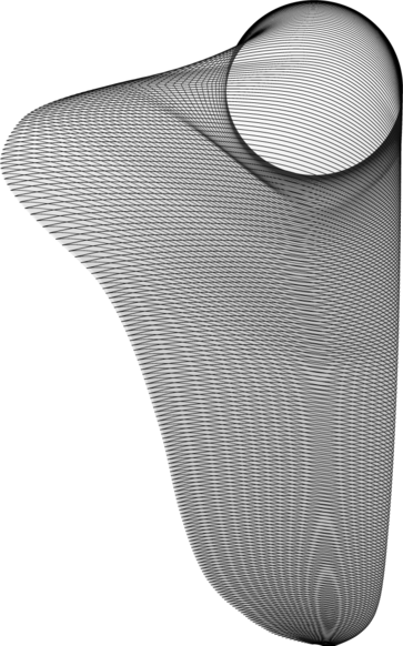 The NRT blade shape as viewed from the tip and at an elevation angle of 30° above the suction surface.