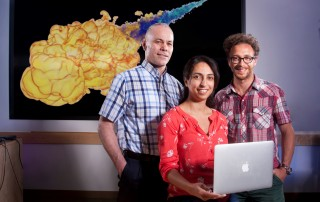 About the photo: Sandia National Laboratories postdoctoral researcher Layal Hakim, center, working with Joe Oefelein, left, and Guilhem Lacaze, designed and implemented an optimized chemical model that describes autoignition of a diesel fuel surrogate.