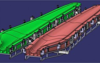 Drawing shows blade-mold fabrication assembly with sections joined together and attached to a support scaffold. [Courtesy of DOE/WWPTO/AMO]