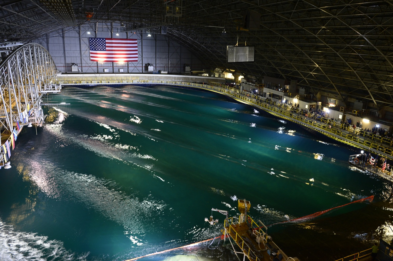 Test site: U.S. Navy MASK wave basin at the Carderock facility, Bethesda, MD [photo courtesy of U.S. Navy]