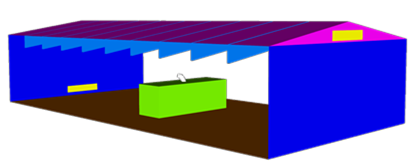 Figure 1. Schematic of the NGV maintenance facility used for the simulations. The roof had a 1:6 pitch and had layouts with and without 9 evenly spaced, horizontal supports. Two circulation vents were located on the smaller building side-walls, with one placed low and the other high to maximize room currents.
