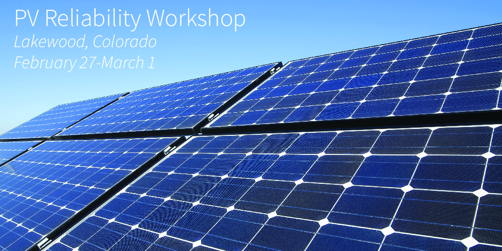 "Pv panels with text overlay reading ""PV REliability Workshop"""