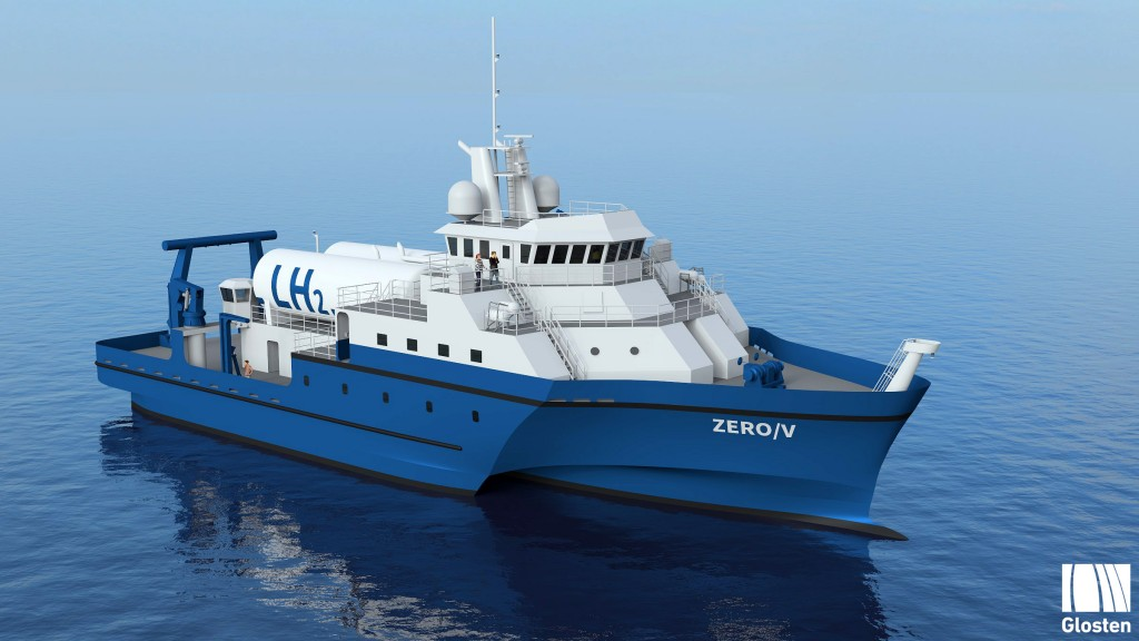 a concept drawing of a hydrogen-powered, zero-emission vessel