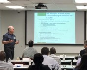 Two presenters give an overview of the attributes and benefits that have been highlighted for advanced microgrids.