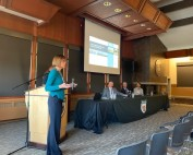 Stephanie Kuzio talks about Sandia's water programs at the DOE National Lab Day, which took place at Montana Technological University.
