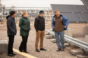 From left to right: SunPower Field Engineer Fabrizio Farina, Sandia PI Dr. Laurie Burnham, and SunPower Senior Engineer Adam Hoffman listen as PSEL Technical Director Dr. Bruce King describes some of the unique features of the Photovoltaic Systems Evaluation Laboratory facility.