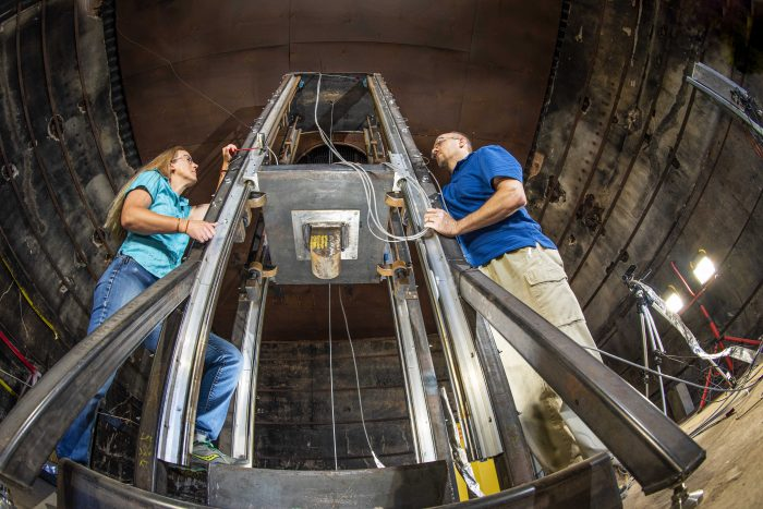 Sandia engineers demonstrate how a drop tower built by Sandia abuses batteries to understand how the lithium-ion cells respond to different types of stress.