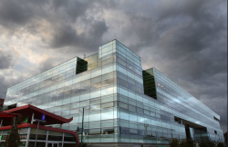 Photo of the JBEI building on a stormy day.