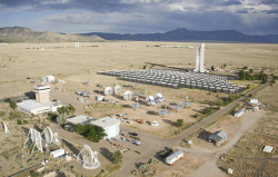 Aerial photo of the solar tower and heliostat field.