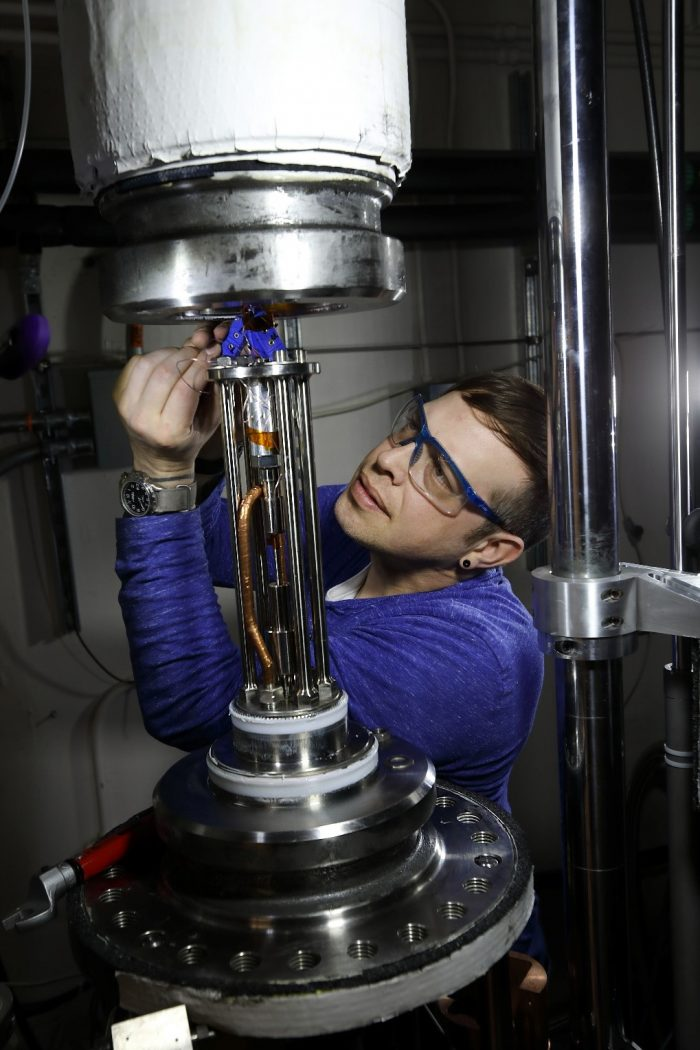 A high pressure mechanical test systems designer and operator prepares a system for testing with hydrogen gas