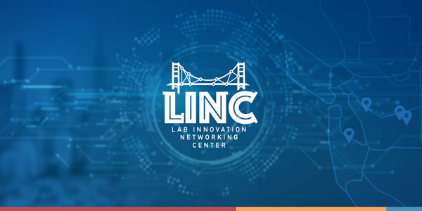 The Lab Innovation Networking Center emblem on a blue background