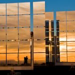 Image of large solar mirror at the National Solar Thermal test Facility in Albuquerque, NM