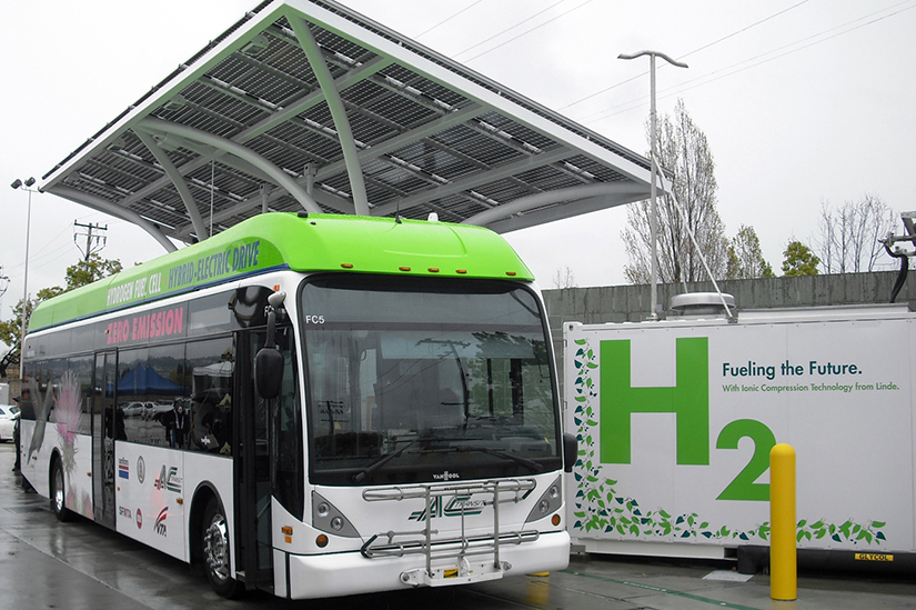 The Bay Area's Alameda-Contra Costa Transit District (AC Transit) hydrogen fueling station in Emeryville, California.