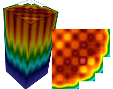 Images produced by Virtual Environment for Reactor Applications–Core Simulator (VERA-CS) of coolant enthalpy distribution in a pressurized water reactor (PWR) at hot full power. Left: 3D image of core enthalpy. Right: 2D image at the core exit.