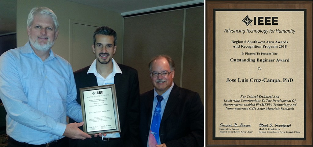 Jose Luis receives his IEEE Outstanding Engineer Award from Sargent N. Benson, Region 6 Southwest Area Chair (left), and Mark S. Frankfurth, Region 6 Southwest Area Awards Chair (right).