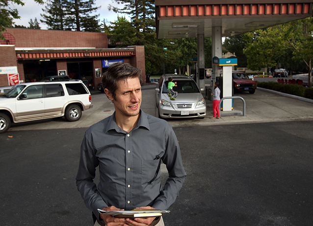 A recent Sandia report asks whether hydrogen fuel can be accepted at any of the 70 California gas stations involved in the study, based on a new hydrogen technologies code. Here, Sandia's Daniel Dedrick visits a station in Oakland, California. (Photo by Dino Vournas)