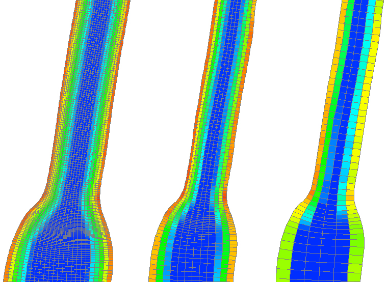 Grids used in the refinement study showing the bottom elevation of Roza Canal for models with 19,777, 4,956, and 1,237 cells (left to right).