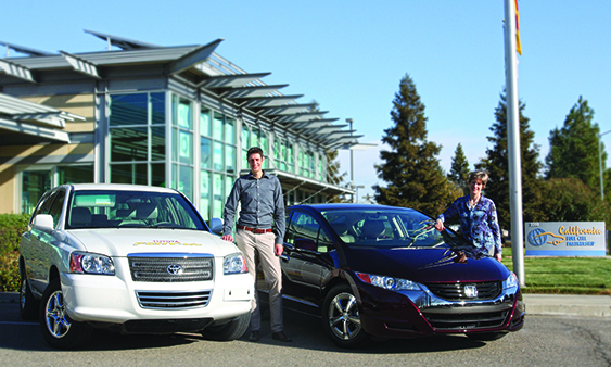 Daniel Dedrick, Sandia's hydrogen program manager, and H2FIRST partner Catherine Dunwoody of the California Fuel Cell Partnership are working to install more fueling stations for hydrogen fuel cell cars. (Photo by Juan Contreras, California Fuel Cell Partnership)