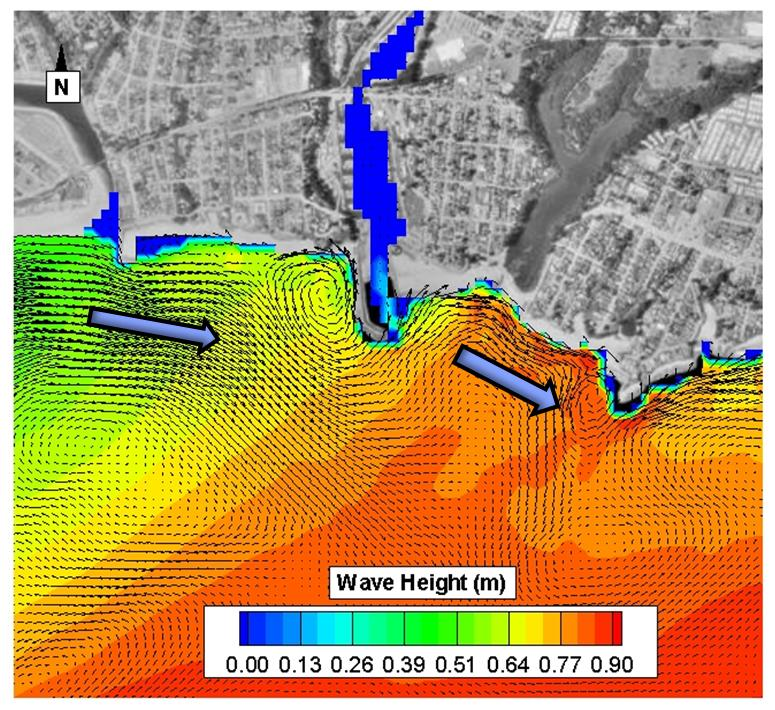 Example of Hydrodynamic modeling showing wave height and circulation patterns in Monterey Bay, CA.