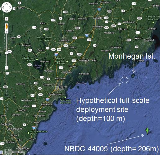 Hypothetical deployment site off the coast of Maine and location of the NBDC buoy used for wave characterization.