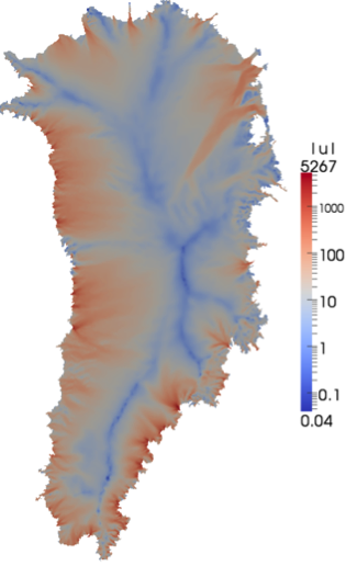 Ice-flow velocity magnitude [m/yr] on the surface of the Greenland Ice Sheet, as computed by the Albany/FELIX finite element code.
