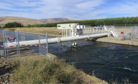 Instream Energy Systems turbine deployment at the Roza Canal site in Yakima, Washington.