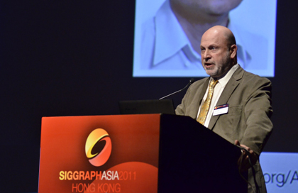 Sandia's Jeff Jortner speaking at SIGGRAPH Asia 2011 in Hong Kong.