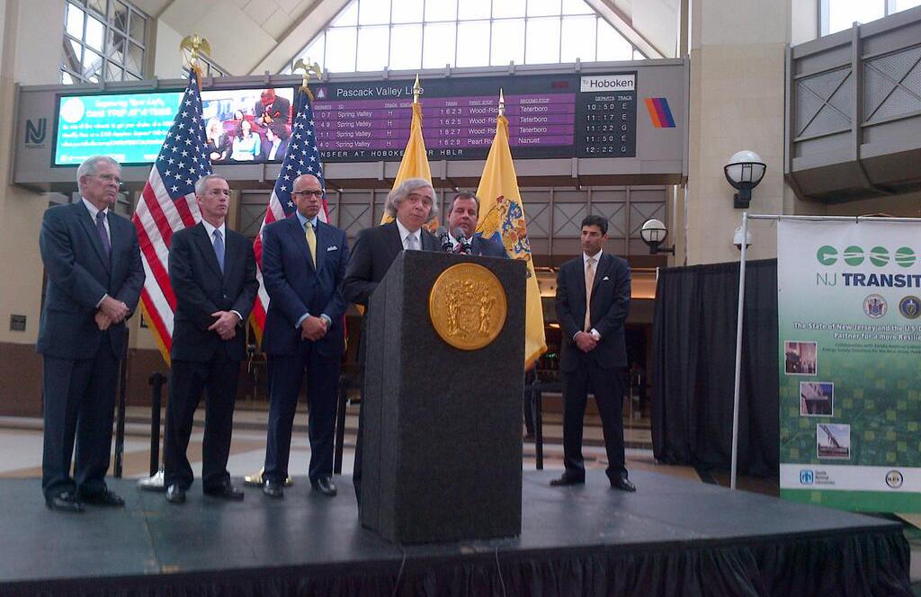 DOE Secretary Moniz addresses those gathered to witness the NJ Transit FutureGrid MOU signing on August 26th.
