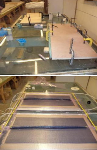 Wind-blade nondestructive inspection (NDI) evaluation panels in production.