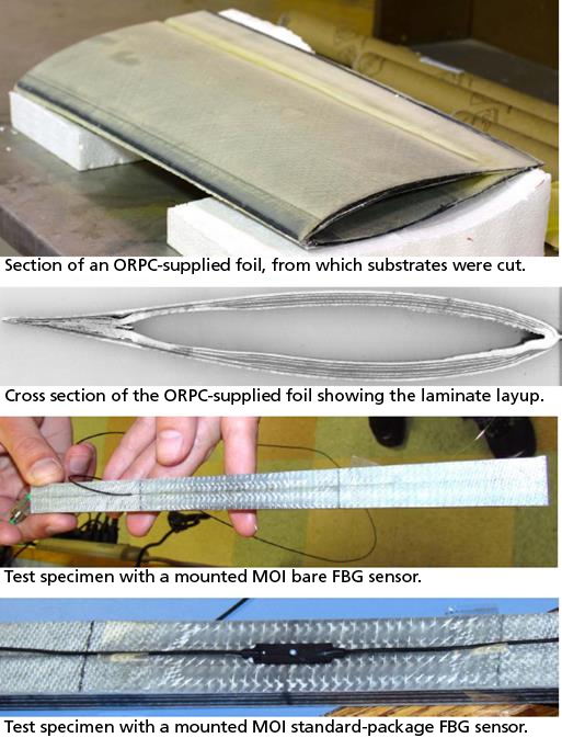 Fiber-optic Bragg grating (FBG) sensors on a sectioned turbine foil.