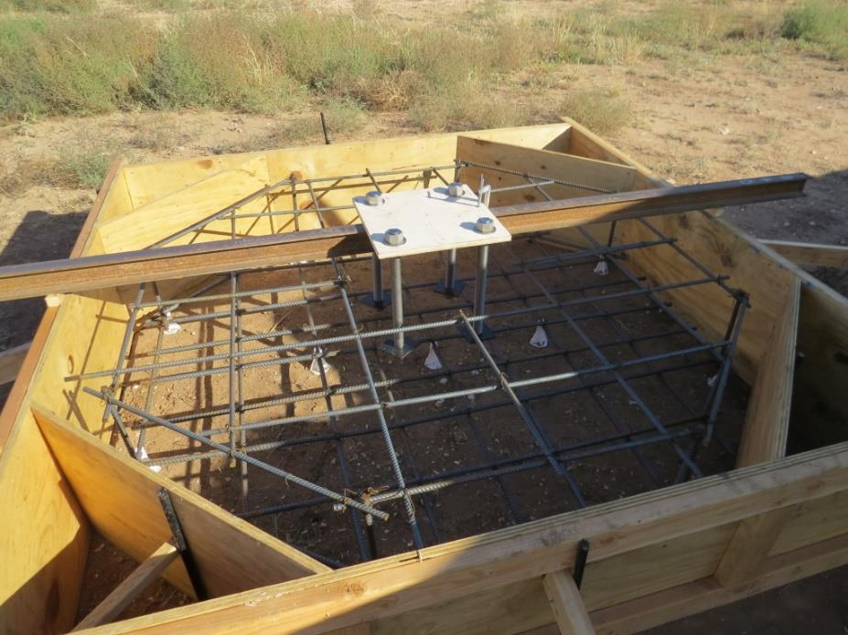 A rotor fixation stand being prepared for concrete.