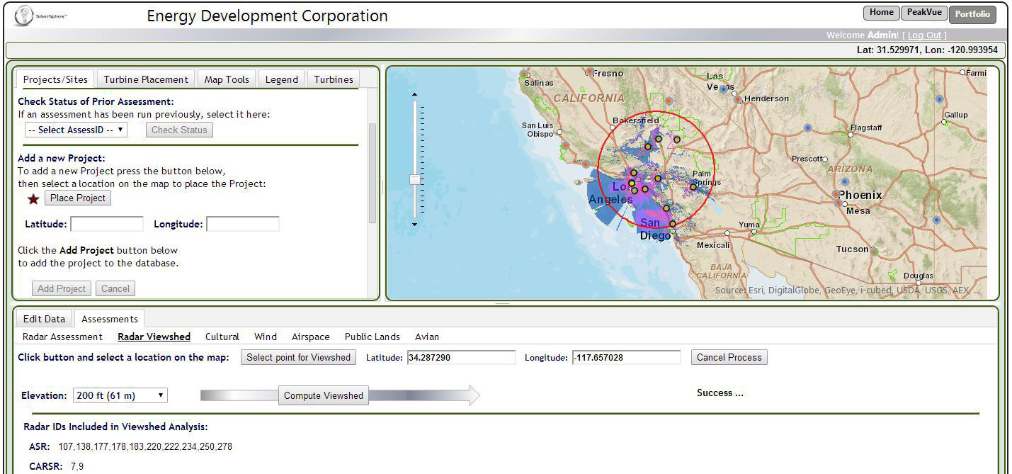 TSPEAR screenshot of Viewshed and user-interface results.
