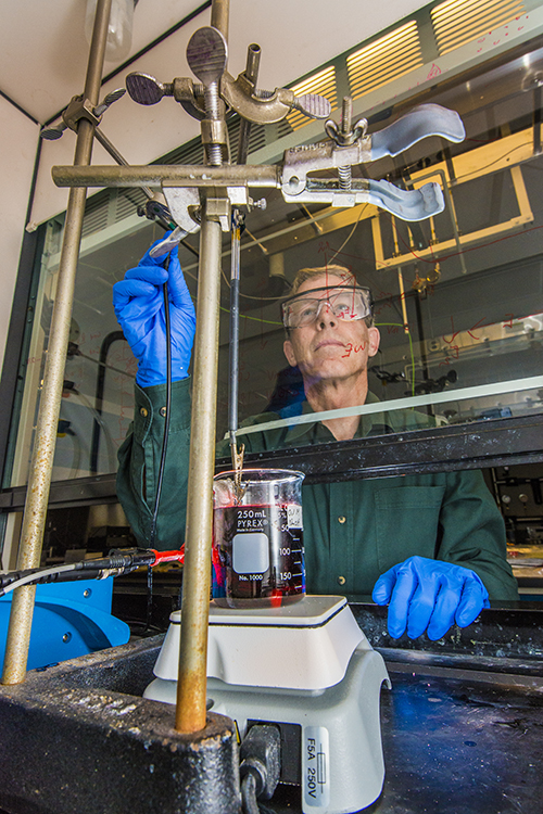 Graham Yelton and Sandia colleagues have developed a single electroforming technique that tailored key factors to better thermoelectric performance: crystal orientation, crystal size, and alloy uniformity. (Photo by Randy Montoya)