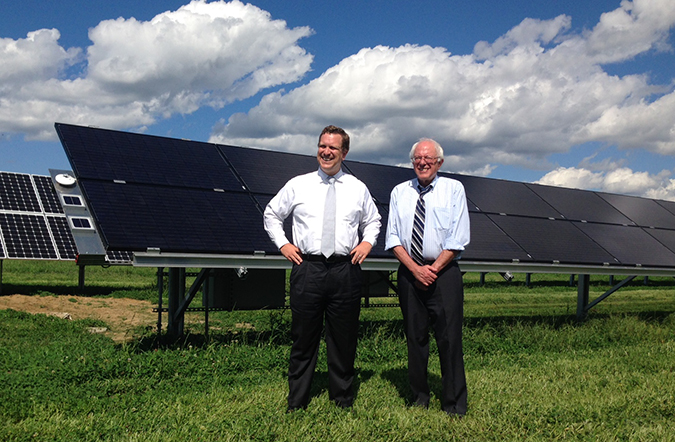 Dr. Danielson and Sen. Sanders attend ribbon-cutting ceremony to commemorate the newly installed PV arrays at the Williston, Vermont, RTC site.